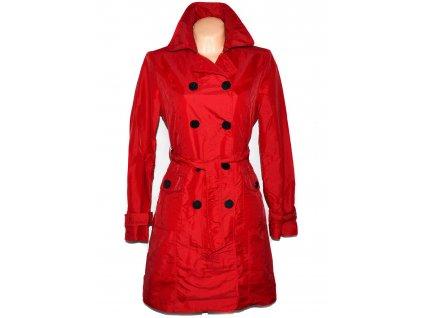 Dámský červený kabát s páskem MANGO XL
