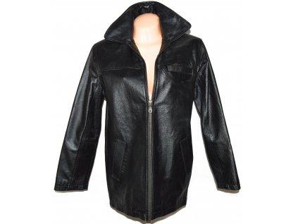 KOŽENÝ dámský černý měkký kabát na zip XL