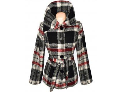 Vlněný (51%) dámský kostkovaný kabát s páskem C&A 18/44