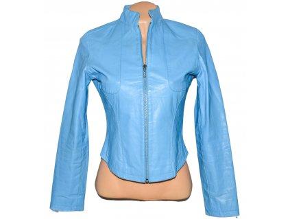 KOŽENÁ dámská modrá bunda na zip TERRANOVA M