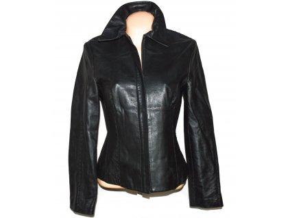 KOŽENÁ dámská černá měkká bunda na zip MANGO L