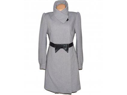 Dámský šedý kabát s páskem H&M L