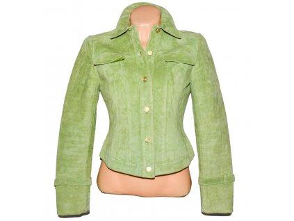 KOŽENÁ dámská zelená broušená bunda WORTH S