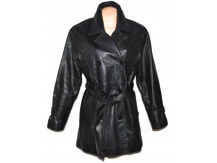 KOŽENÝ dámský černý dvouřadý kabát s páskem XL
