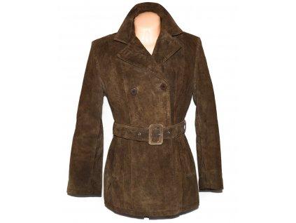 KOŽENÝ dámský hnědý semišový zateplený kabát s páskem JOY L