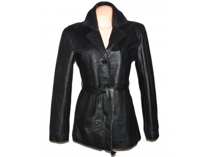 KOŽENÝ dámský černý měkký kabát s páskem L