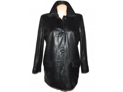 KOŽENÝ dámský zimní černý měkký kabát s odnimatelnou vložkou Anne Brooks M