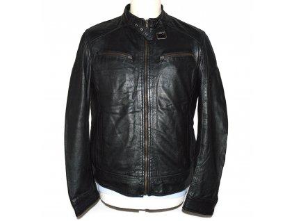 KOŽENÁ pánská černá měkká zateplená bunda na zip L