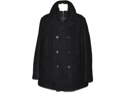 Vlněný (50%) pánský černý zimní kabát na zip F&F XXXL