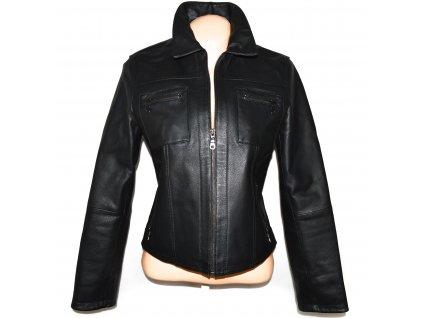 KOŽENÁ dámská černá zateplená bunda na zip L