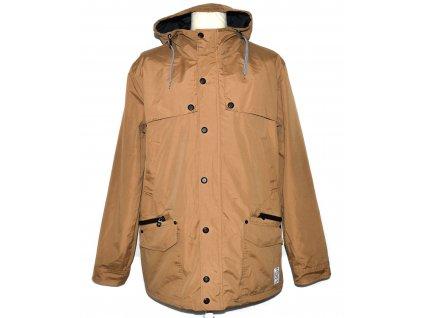 Pánský hnědý kabát - parka s kapucí HOUSE XXL