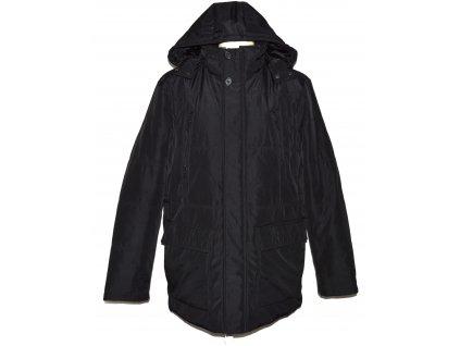 Pánský zimní černý kabát s kapucí  - parka C&A 56