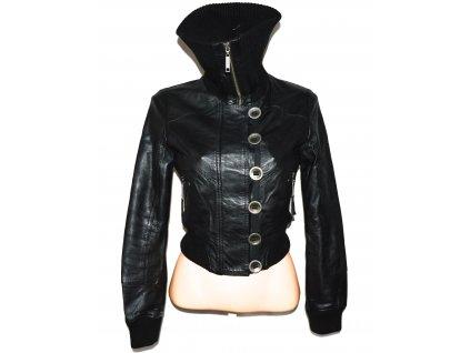 KOŽENÁ dámská černá měkká bunda na zip RIVER ISLAND M