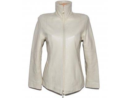 KOŽENÁ dámská smetanová měkká bunda na zip DUGO 36