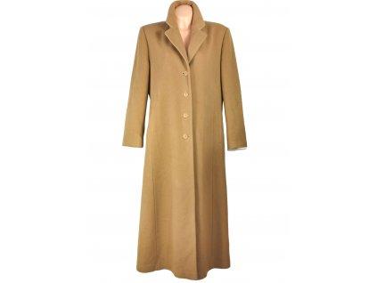 Vlněný (70%) dámský dlouhý hnědý kabát Erich Fend 44