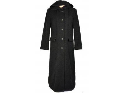 Vlněný (75%) dámský šedočerný dlouhý kabát (vlna, kašmír) 42