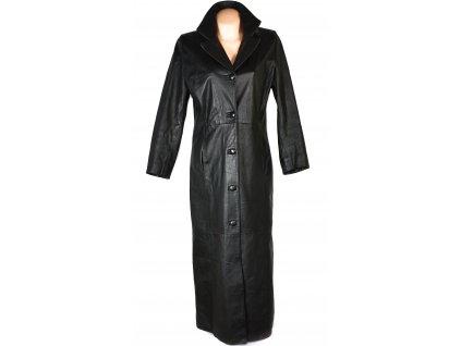 KOŽENÝ dámský dlouhý černý kabát BULUR M