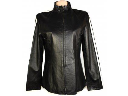 KOŽENÁ dámská černá měkká bunda na zip 46