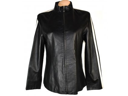 KOŽENÁ dámská černá měkká bunda na zip L/XL