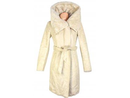 Dámský zimní krémový kabát s páskem PROMOD 38