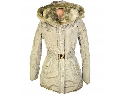 Dámský zimní prošívaný kabát s páskem a kapucí Nature M