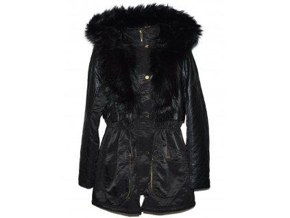 Dámský černý zimní kabát s kožíškem, koženkové doplňky F&F XXL