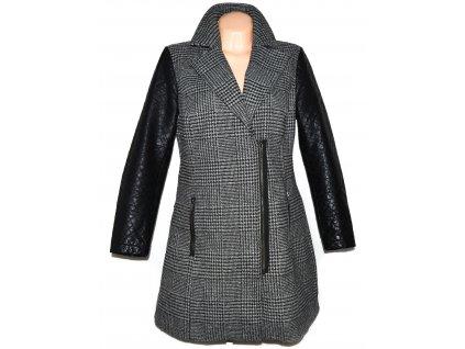 Dámský šedočerný kabát - křivák s koženkovými rukávy C&A XXL