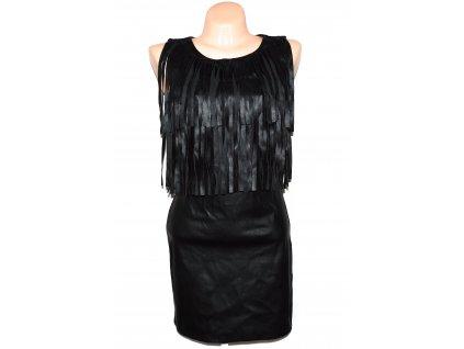 Dámské koženkové černé šaty s třásněmi S