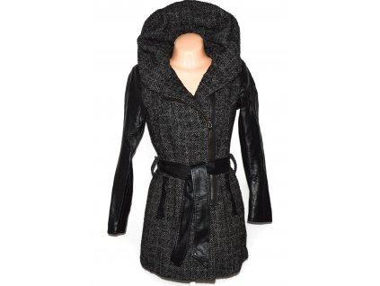 Dámský šedočerný kabát - křivák s páskem ONLY M