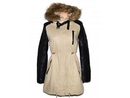 Bavlněná dámská béžová zimní parka s kapucí Fishbone Sister S