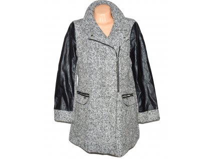 Dámský šedočerný kabát - křivák s koženkovými rukávy F&F 18/46