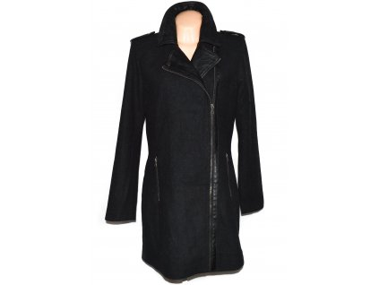 Vlněný dámský černý kabát - křivák Jean Pascale XL