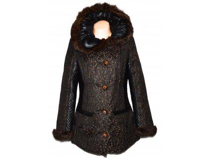 Dámský prošívaný leopardí kabát s pravým kožíškem CONDUO 38
