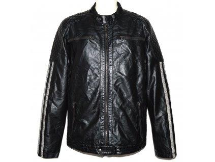 Pánská černá koženková zateplená bunda na zip SMOG L
