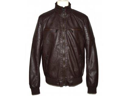 Pánská hnědá koženková bunda na zip L