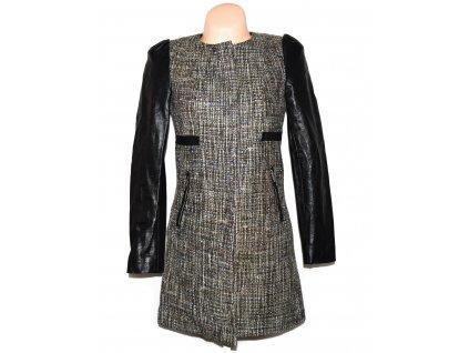 Dámský kabát s koženkovými rukávy H&M 34
