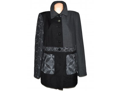Extravagantní dámský šedočerný kabát Ulla Popken XXXL/ UK 22
