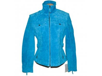 KOŽENÁ dámská tyrkysová semišová bunda na zip JILANI L