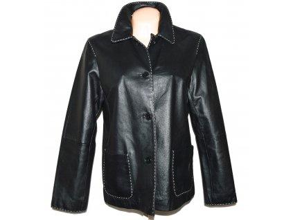KOŽENÁ dámská černá měkká bunda s prošíváním XL