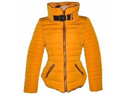Dámská prošívaná hořčicová bunda na zip ZARA L