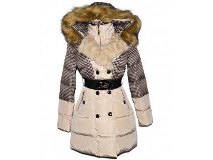 Dámský béžový prošívaný kabát s páskem a kapucí L