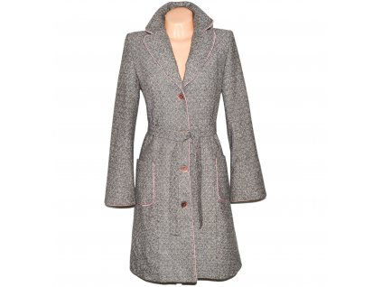 Vlněný dámský vzorovaný kabát s páskem Sinequanone Paris M