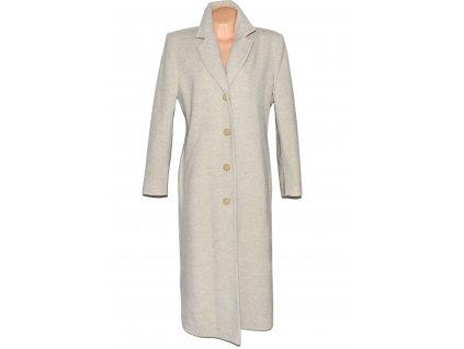 Vlněný (70%) dámský dlouhý béžový kabát Ritmo mode (vlna, kašmír) 42