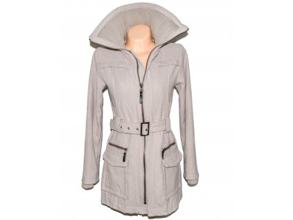 Vlněný (50%) dámský béžový kabát s páskem UNITS 36