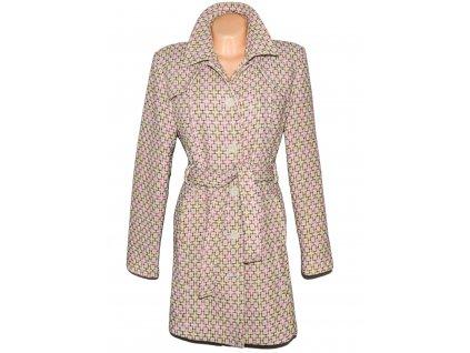 Dámský vzorovaný béžovo-růžový kabát s páskem Reserved L