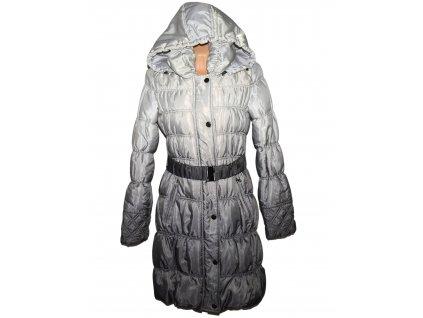 Dámský prošívaný tónovaný kabát s páskem a kapucí Orsay 40