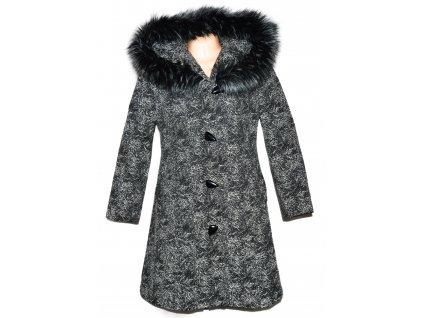 Dámský šedočerný vzorovaný kabát s kapucí XL