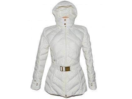 Dámský bílý prošívaný kabát s páskem a kapucí Street One M