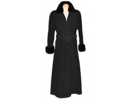Vlněný (60%) dámský dlouhý šedočerný kabát s páskem a kožíškem Claudia Corelli (vlna, kašmír) XXL