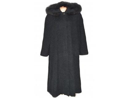 Vlněný (60%) dámský dlouhý šedočerný kabát s kapucí (vlna, kašmír) XXXL